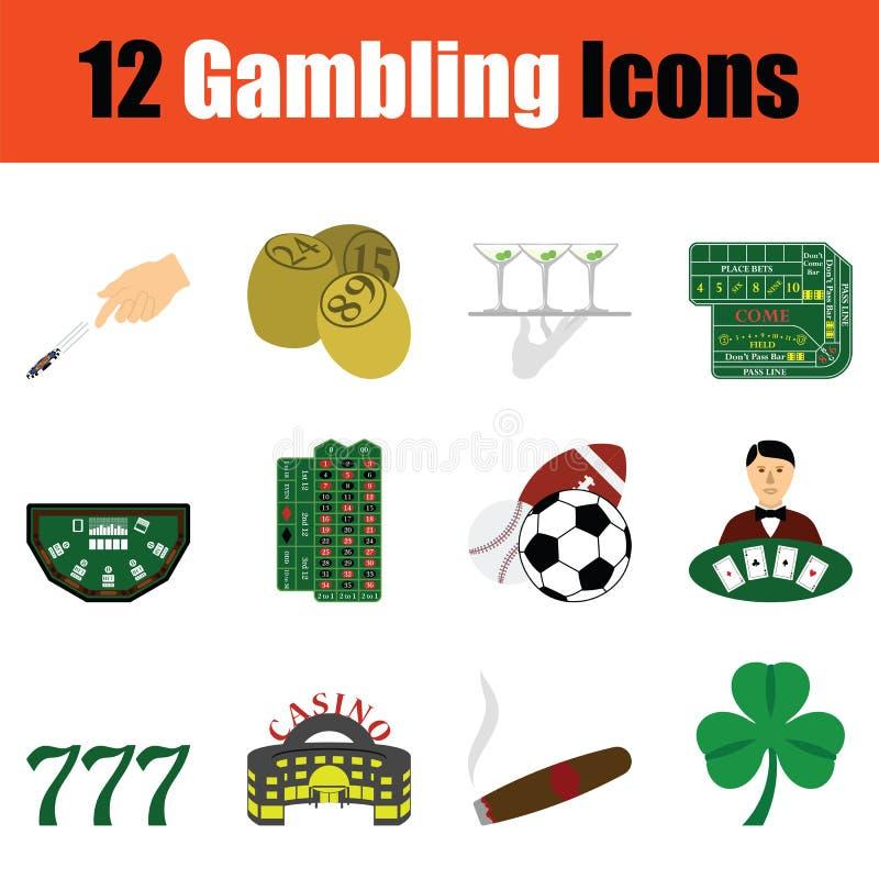 Играя в азартные игры комплект значка иллюстрация вектора