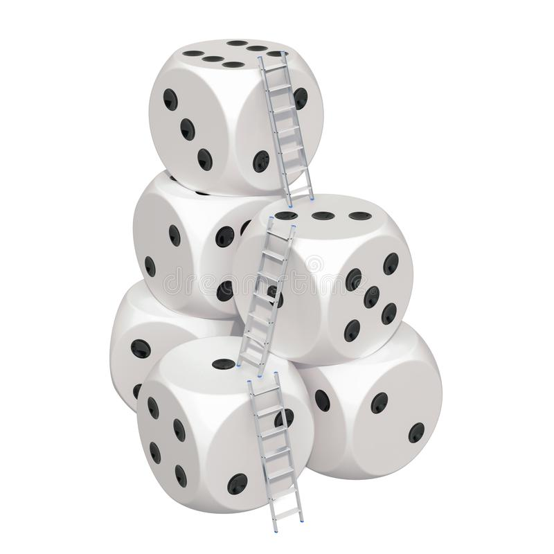 Играя в азартные игры концепция успеха Лестницы с костью казино перевод 3d бесплатная иллюстрация