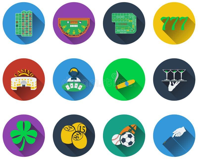 играя в азартные игры установленные иконы иллюстрация штока