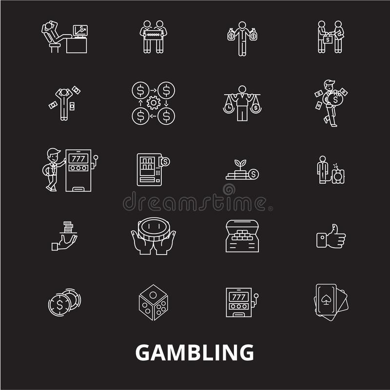 Играя в азартные игры editable линия набор вектора значков на черной предпосылке Играя в азартные игры белые иллюстрации плана, з иллюстрация штока