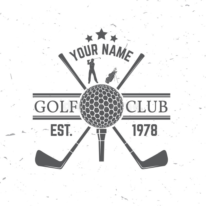 Играя в гольф концепция клуба с силуэтом шара для игры в гольф иллюстрация штока