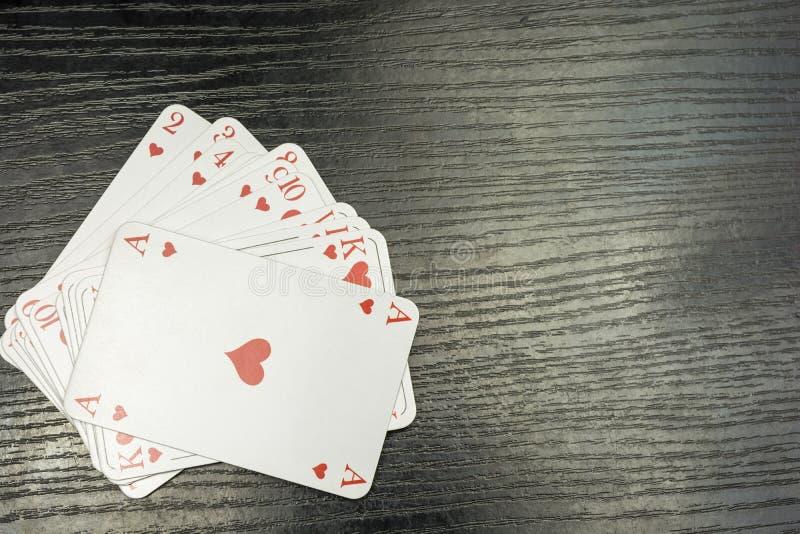 Играя карточки в цвете сердец стоковая фотография rf