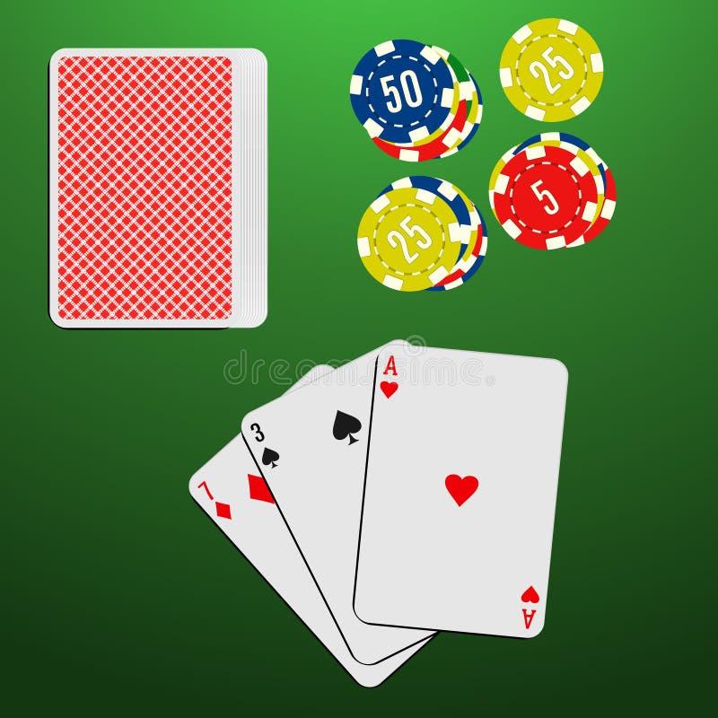 Играя карточки и обломоки казино на зеленой играя в азартные игры таблице Комбинация игры блэкджека бесплатная иллюстрация