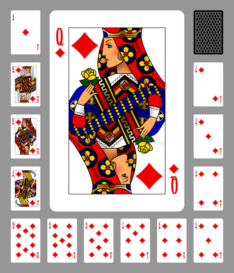 Играя карточки костюма и задней части диамантов на зеленой предпосылке иллюстрация вектора