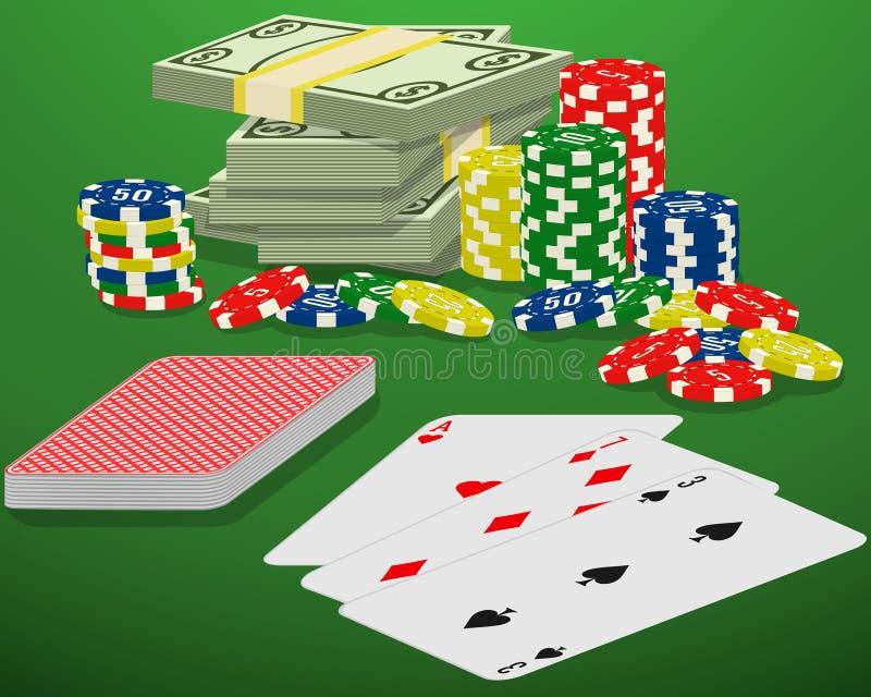 Играя карточки, обломоки казино и пачка денег на зеленой играя в азартные игры таблице Выигрыш блэкджека, пакета перфокарт и нали иллюстрация вектора