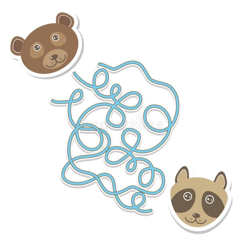 Игра лабиринта енота медведя для детей дошкольного возраста вектор иллюстрация вектора