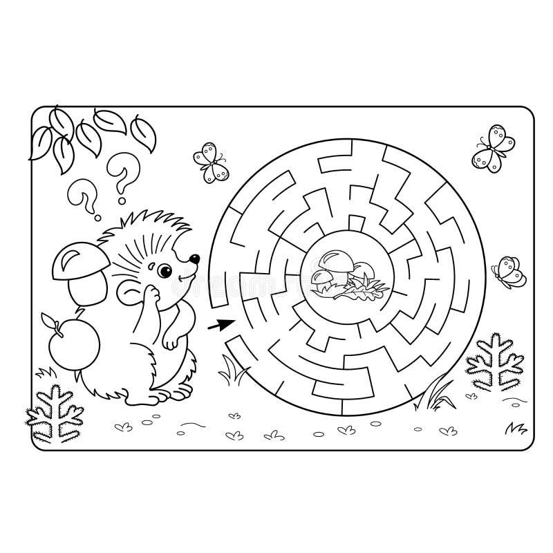 Игра лабиринта или лабиринта для детей дошкольного возраста Головоломка План страницы расцветки бесплатная иллюстрация