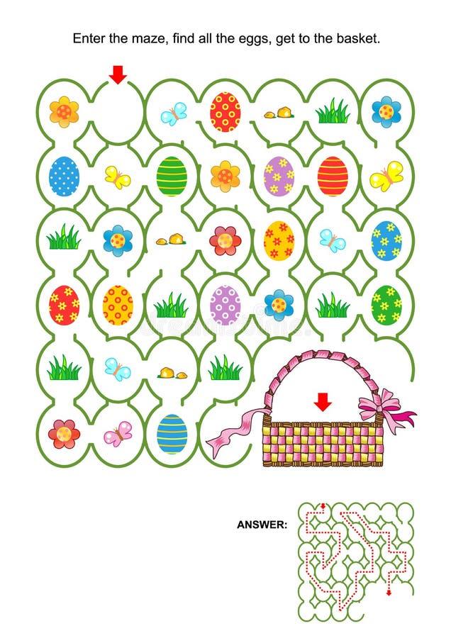Игра лабиринта пасхи с корзиной иллюстрация вектора