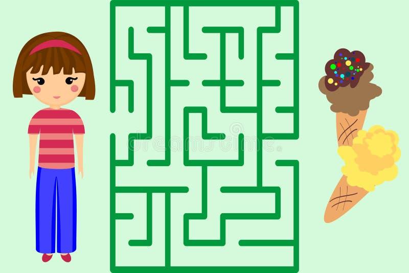 Игра лабиринта Помогите девушке получить мороженое Головоломка бесплатная иллюстрация