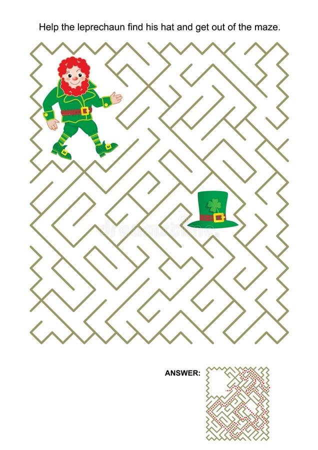 Игра лабиринта с лепреконом и его шляпой иллюстрация вектора