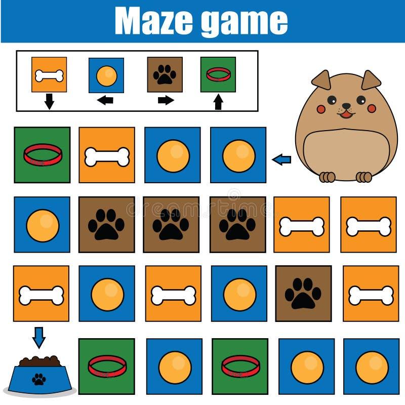 Игра лабиринта, тема животных Ягнит лист деятельности Игра лабиринта логики с навигацией кода бесплатная иллюстрация