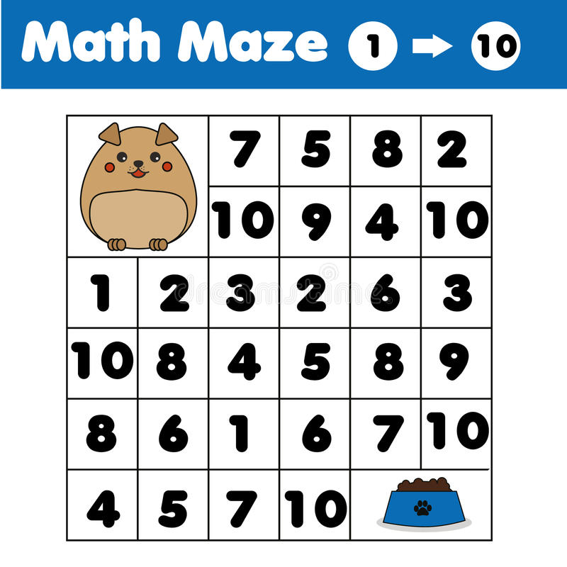 Игра лабиринта, тема животных Ягнит лист деятельности Лабиринт математики с номерами Подсчитывающ от одно к 10 бесплатная иллюстрация