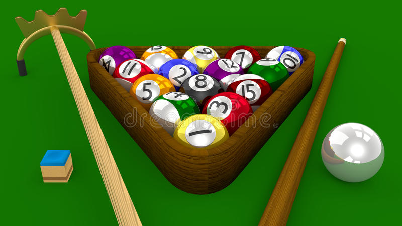 8 игра бассейна 3D шарика - все шарики положили на полку с аксессуарами на зеленой таблице иллюстрация штока