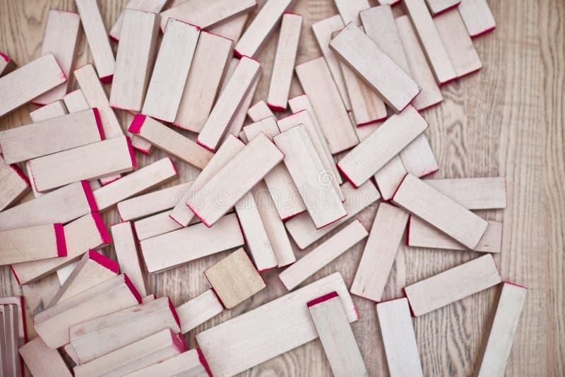 Игра башни деревянного блока для детей Взгляд сверху стоковое фото rf