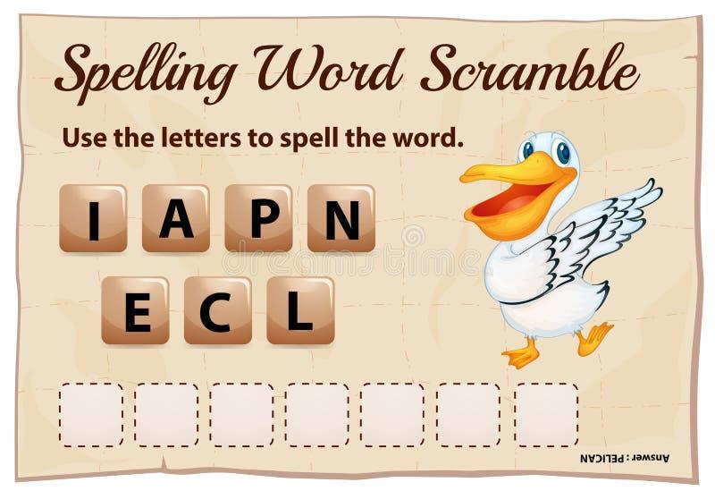 Игра борьбы слова правописания с пеликаном слова бесплатная иллюстрация
