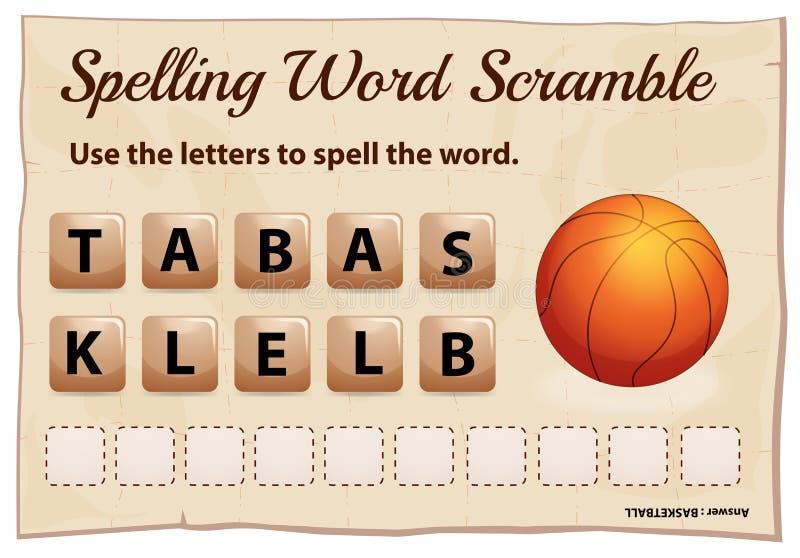 Игра борьбы слова правописания для баскетбола слова иллюстрация штока