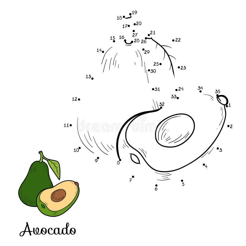 Игра вектора номеров: фрукты и овощи (авокадо) иллюстрация штока