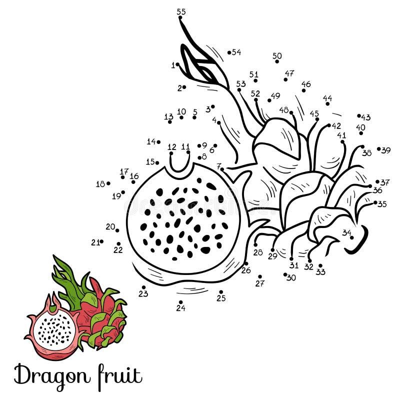 Игра вектора номеров: фрукты и овощи (плодоовощ дракона) иллюстрация штока