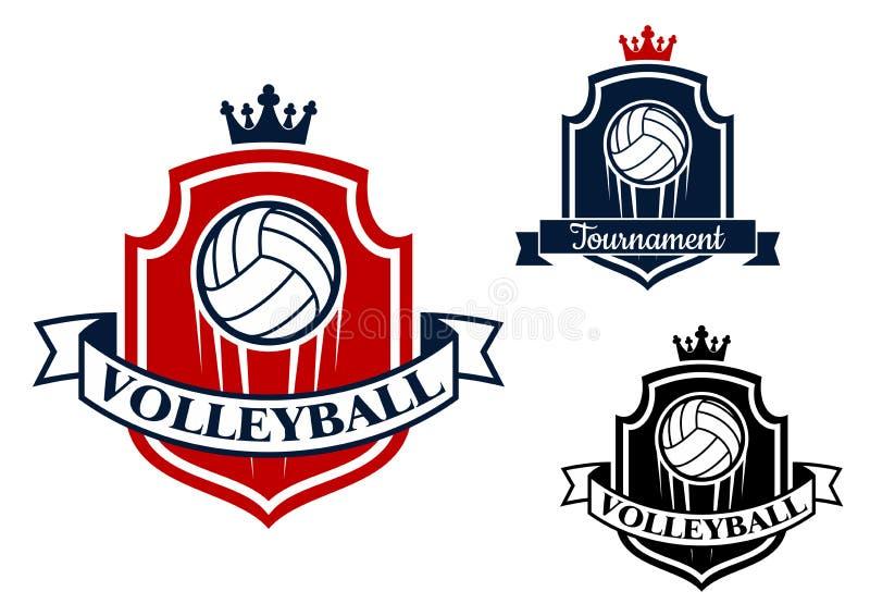 Игра волейбола резвится знамя или эмблема иллюстрация вектора
