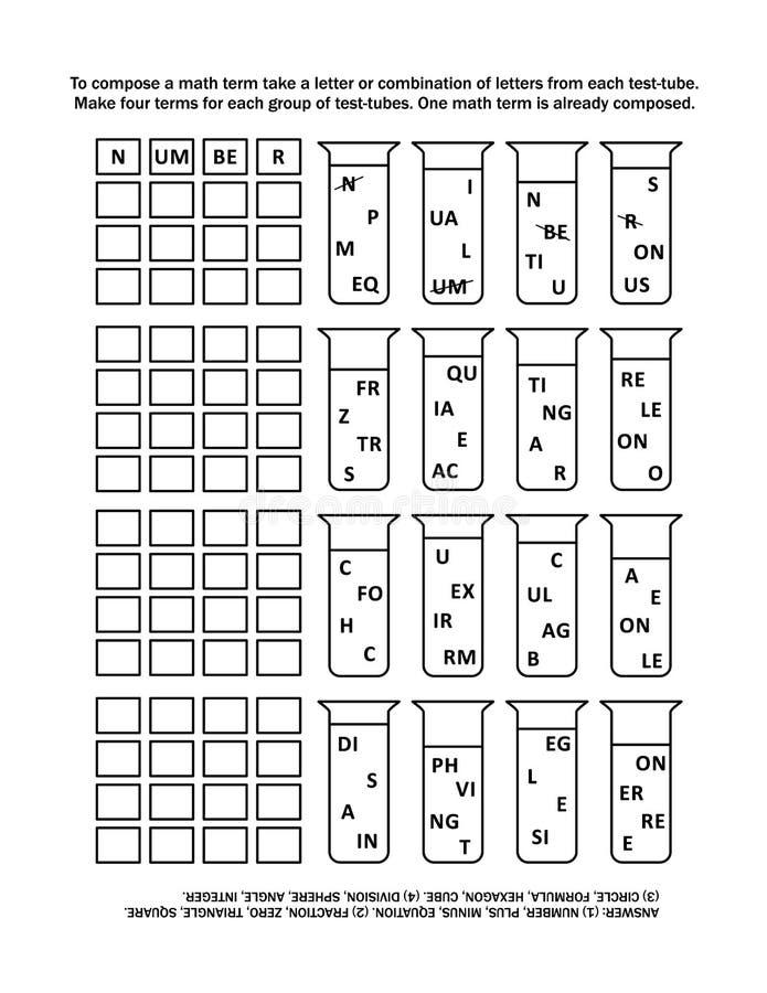 Игра в слова для детей или взрослых, математики тематической иллюстрация штока