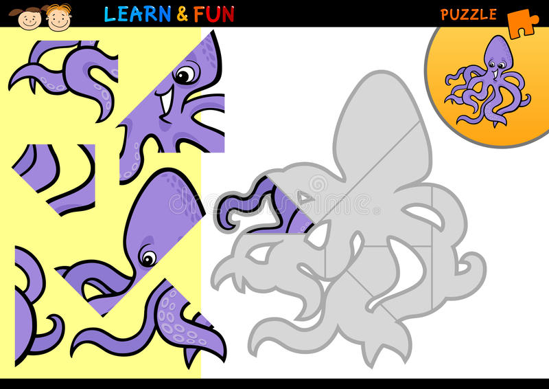Игра головоломки восьминога шаржа иллюстрация штока