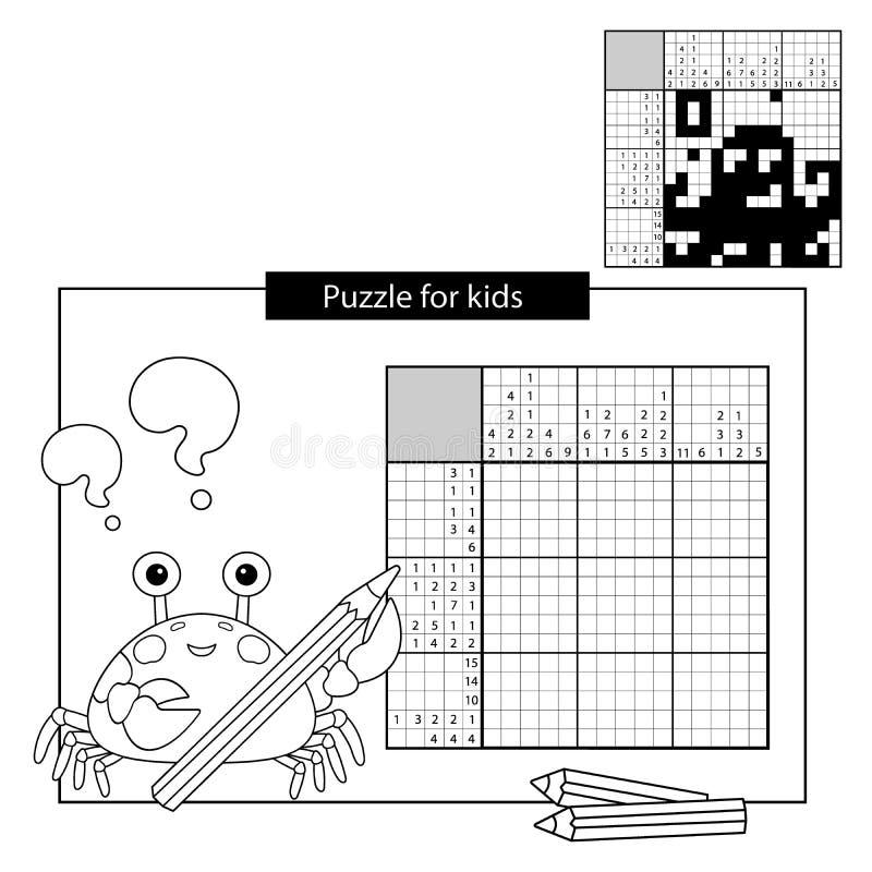 Игра головоломки для ребеят школьного возраста восьминог Черно-белый японский кроссворд с ответом иллюстрация вектора