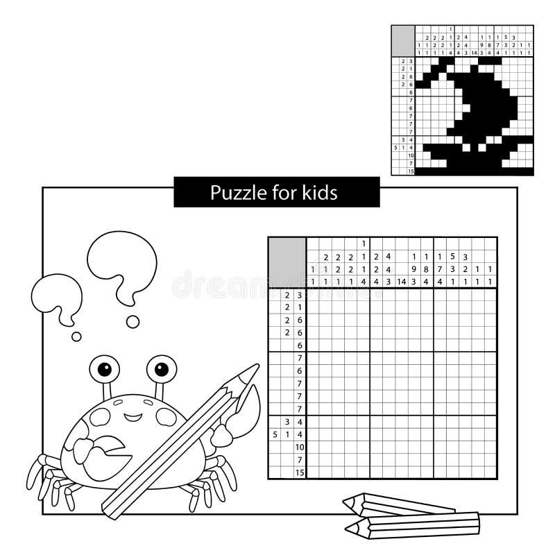 Игра головоломки для ребеят школьного возраста Корабль Черно-белый японский кроссворд с ответом Книжка-раскраска для детей иллюстрация штока