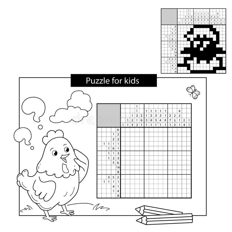 Игра головоломки для ребеят школьного возраста Цыпленок Черно-белый японский кроссворд с ответом Книжка-раскраска для детей иллюстрация вектора