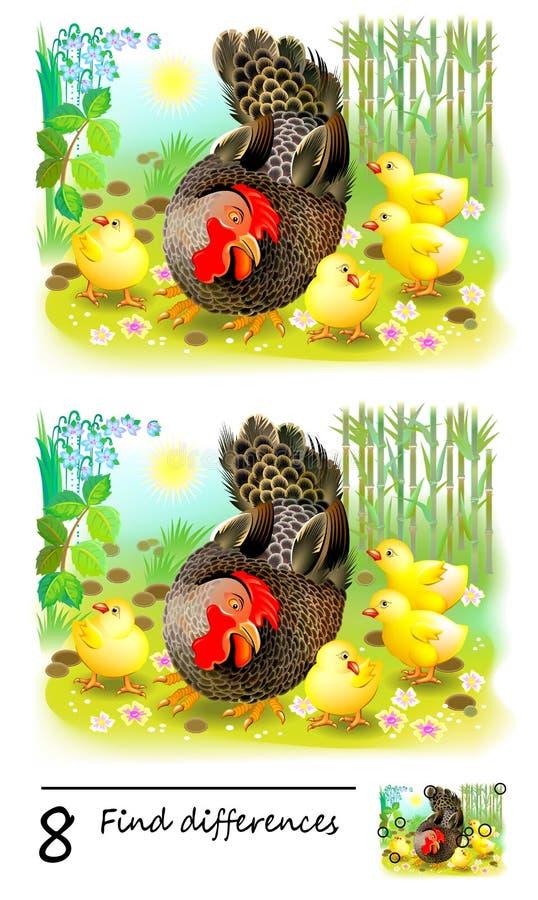 Игра головоломки логики для детей Нужно найти 8 разниц Семья цыпленка и их курица матери Printable страница для мозга младенца бесплатная иллюстрация