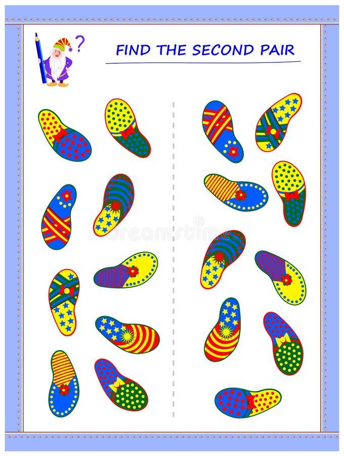 Игра головоломки логики для маленьких детей Нужно найти вторые пары каждой тапочки и присоединиться к они путем рисовать линии бесплатная иллюстрация
