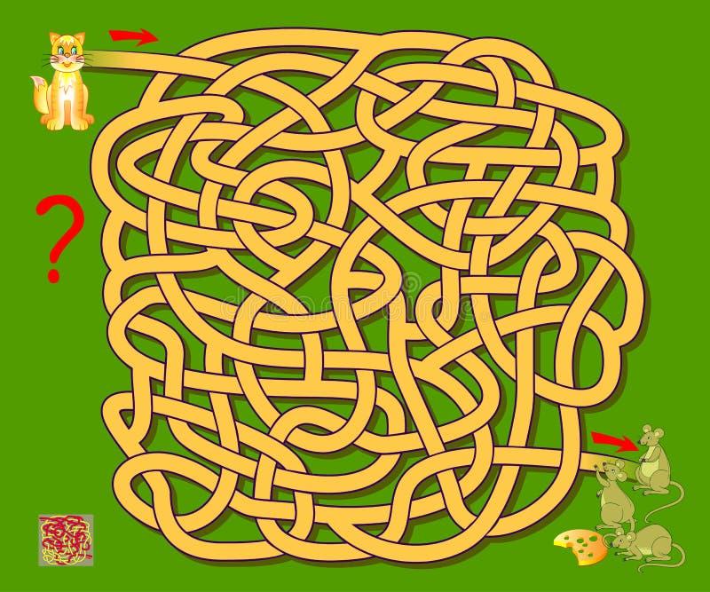 Игра головоломки логики с лабиринтом для детей Помогите коту находить путь до мышей Printable рабочее лист для книги головоломки иллюстрация штока