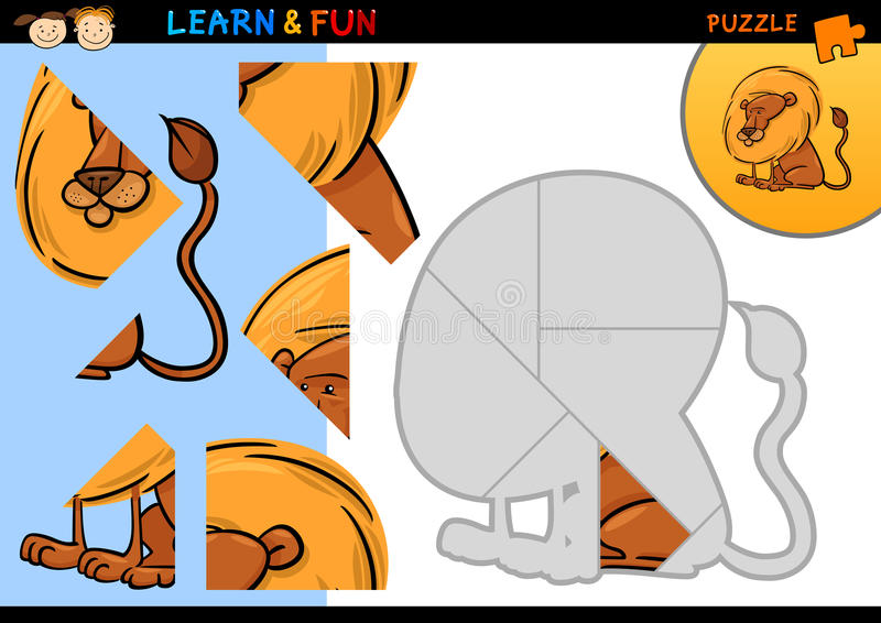 Игра головоломки льва шаржа иллюстрация штока