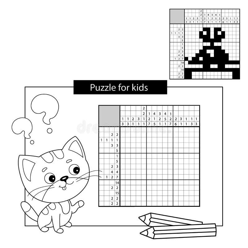 Игра головоломки образования для ребеят школьного возраста Мышь Clockwork Черно-белый японский кроссворд с ответом Книжка-раскрас иллюстрация вектора