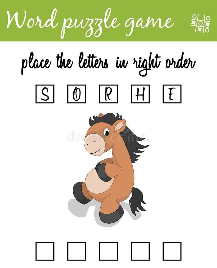 Игра головоломки слов с лошадью Установите письма в правом заказе Учить терминологию Воспитательная игра для детей бесплатная иллюстрация