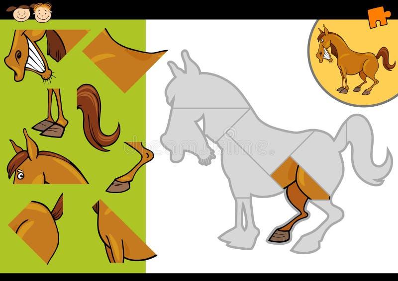 Игра головоломки лошади фермы шаржа иллюстрация вектора