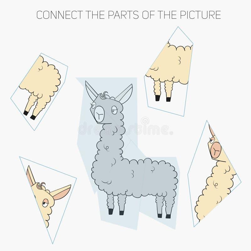 Игра головоломки для лама детей иллюстрация вектора