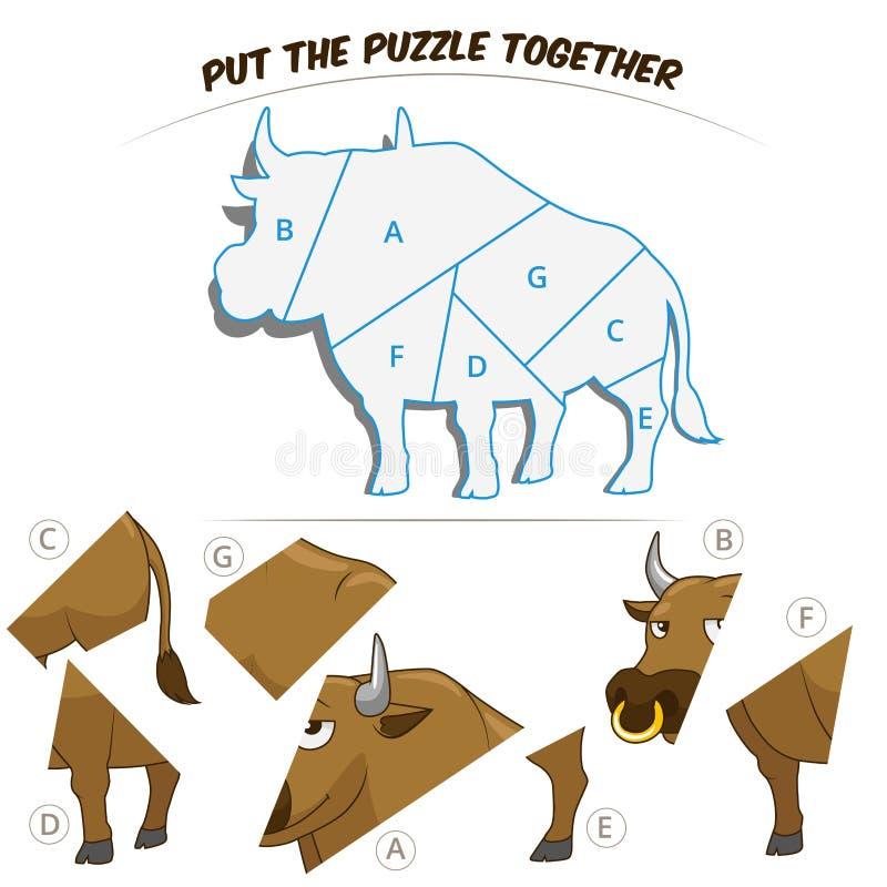 Игра головоломки для быка иллюстрация штока