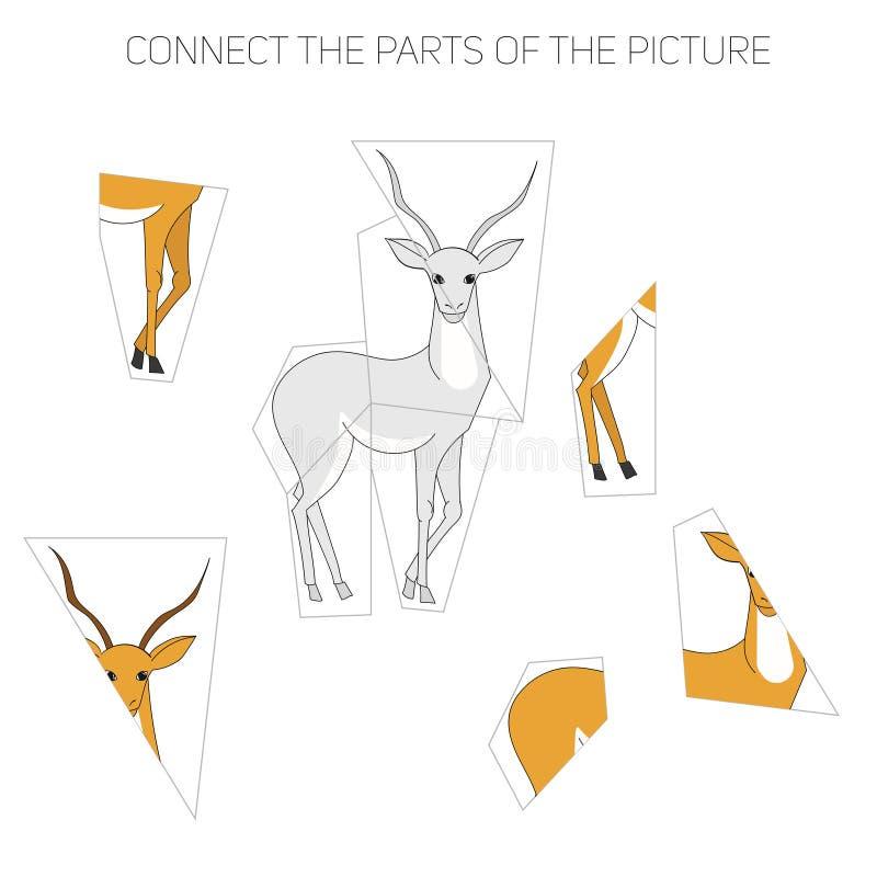 Игра головоломки для газеля детей иллюстрация вектора
