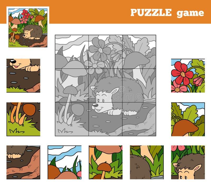 Игра головоломки для детей с животными (еж) иллюстрация вектора