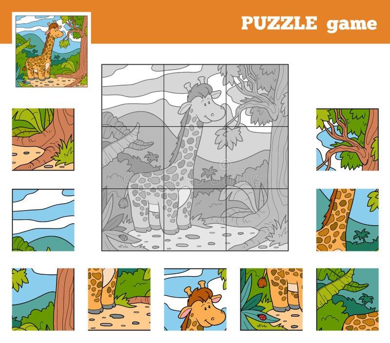 Игра головоломки для детей с животными (жираф) иллюстрация штока