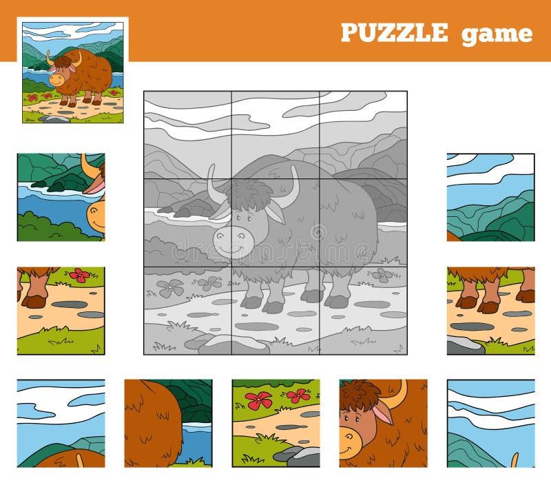 Игра головоломки для детей с животными (яки) иллюстрация вектора