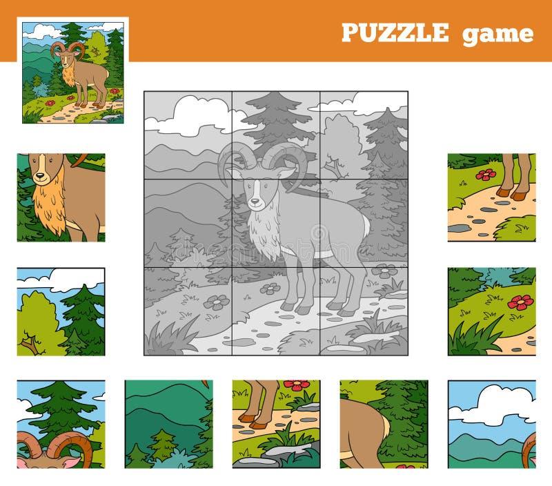 Игра головоломки для детей с животными (urial) иллюстрация вектора