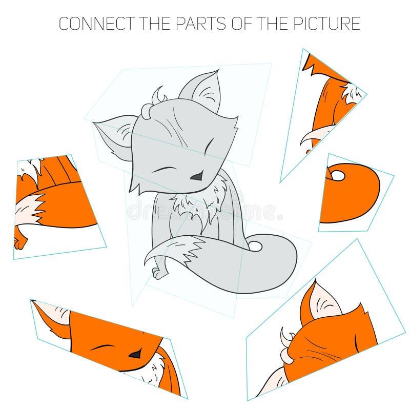 Игра головоломки для лисы детей иллюстрация вектора