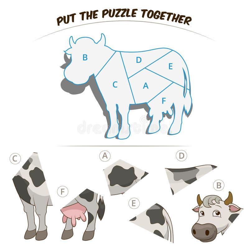 Игра головоломки для коровы детей иллюстрация вектора