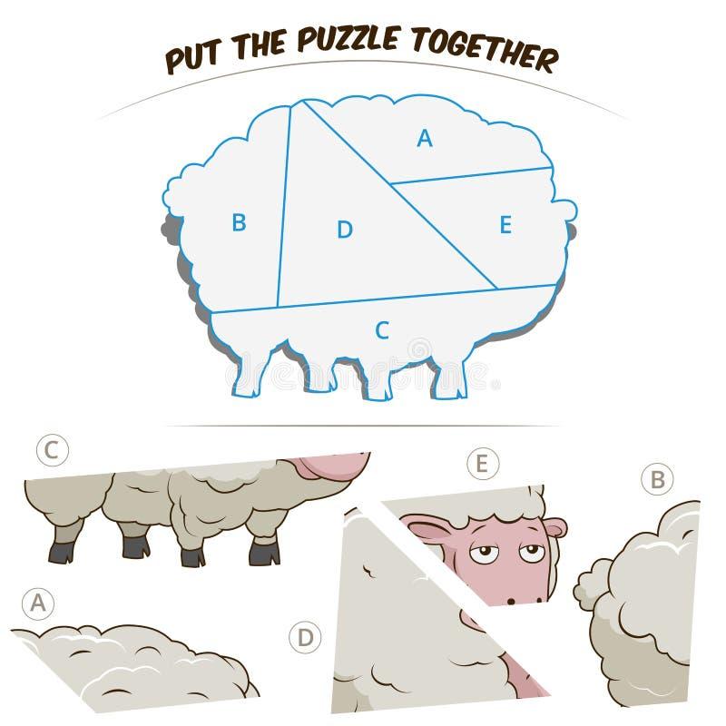 Игра головоломки для овец иллюстрация вектора