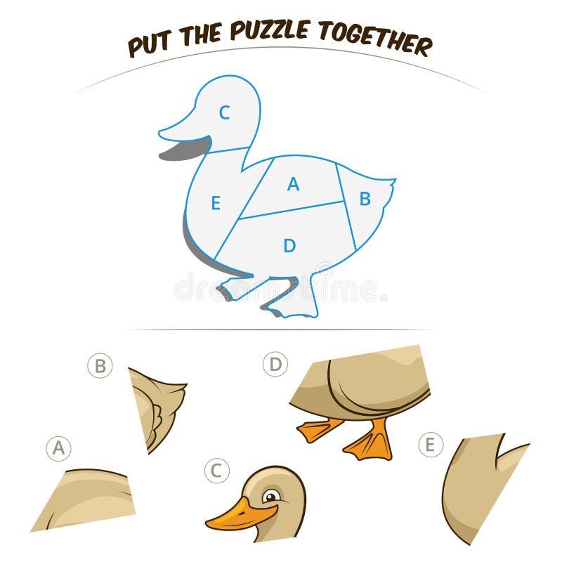 Игра головоломки для утки иллюстрация вектора