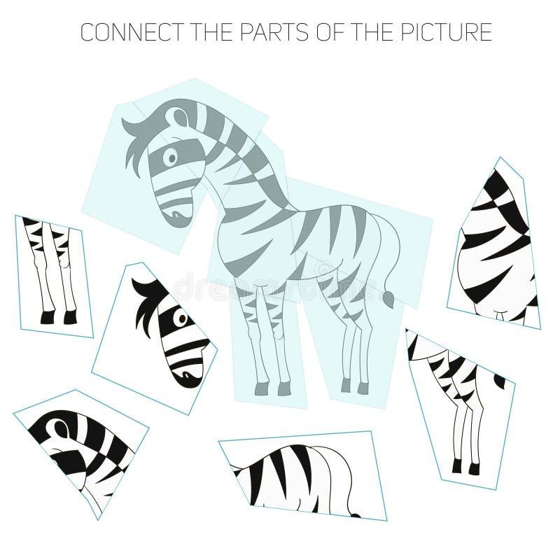 Игра головоломки для chldren зебра иллюстрация штока
