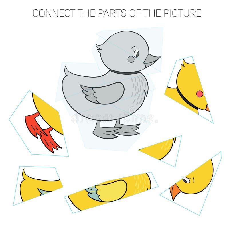 Игра головоломки для chldren утка иллюстрация штока