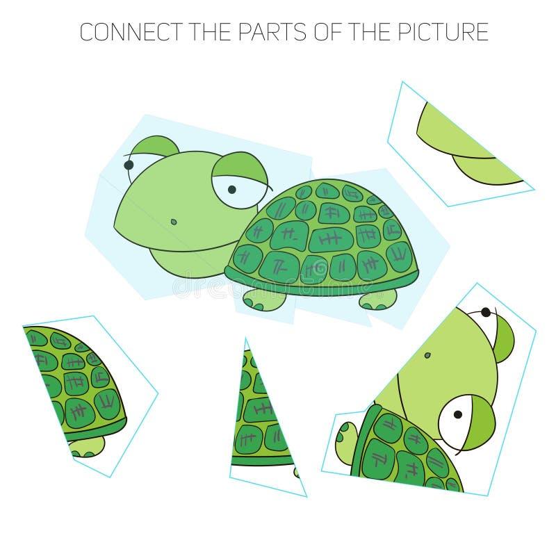 Игра головоломки для chldren черепаха иллюстрация штока