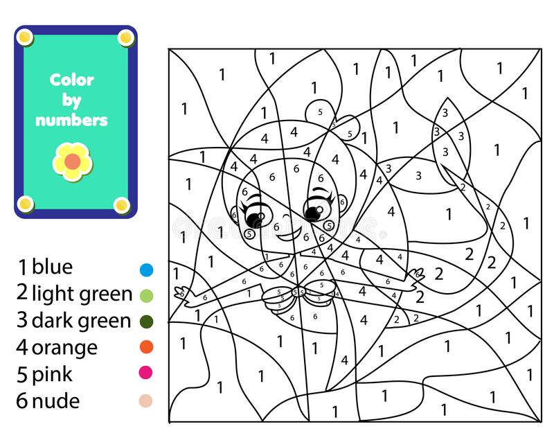 Игра детей воспитательная Страница расцветки русалки Цвет номерами, printable деятельностью для детей и малышами иллюстрация штока
